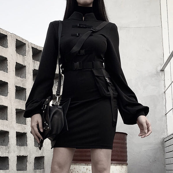 High Waist Standing Collar Long Sleeve Dress