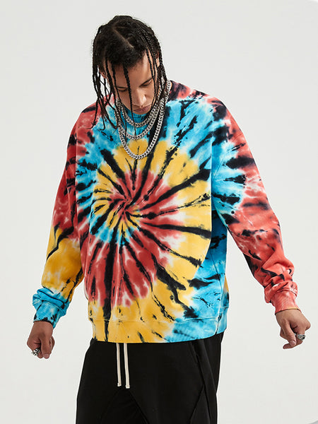 Colorful Spiral Tie-dye Coat and Dark Sweater