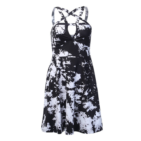 Fashion Hollow Print Suspender Dress