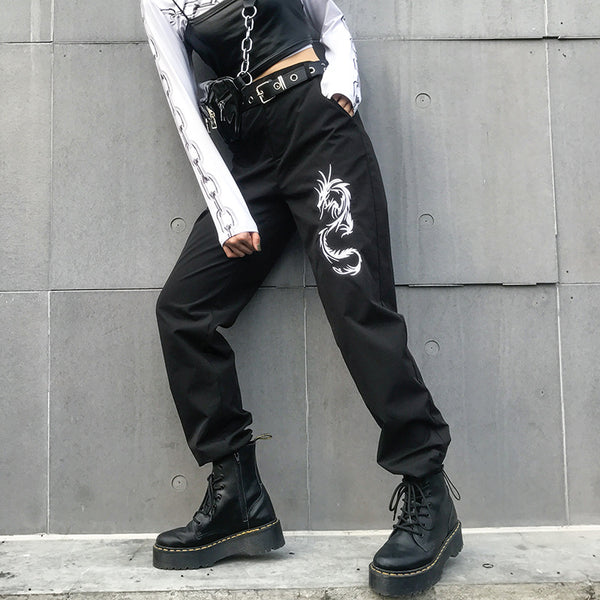 Dragon Embroidery Street Casual Pants