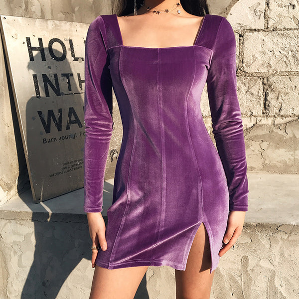 Square Neck Split Slim Mini Dress