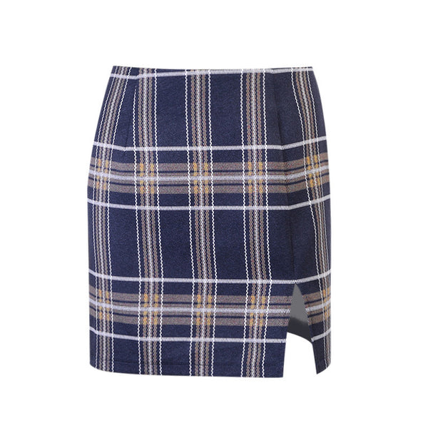 High Waist Plaid Split Skirt