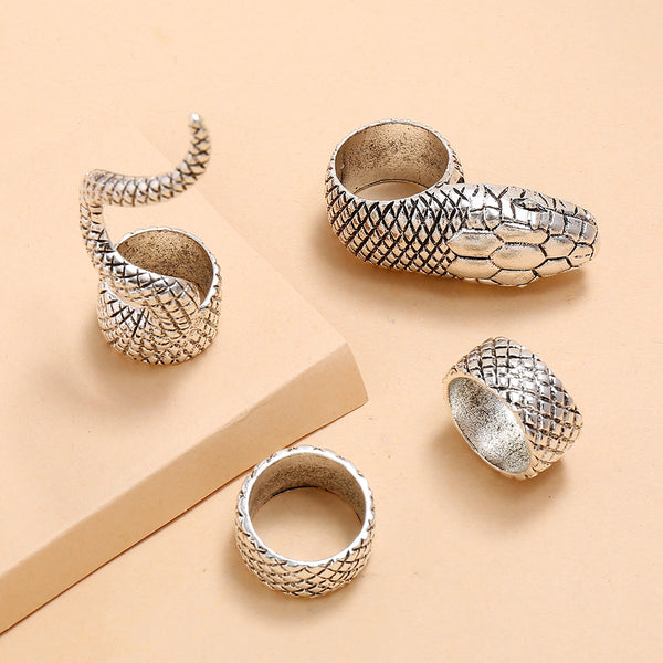 4pc Gothic Style Python Rings Set