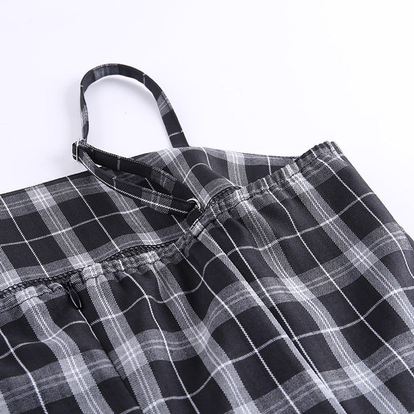 Retro Zipper Plaid Suspender Dress