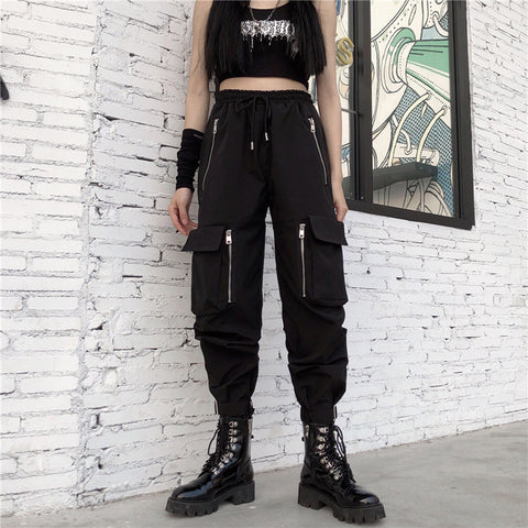 Pocket Multi-Zip High Waist Street Pants