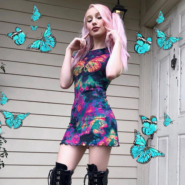 Colorful Butterfly Double Mesh Mini Dress