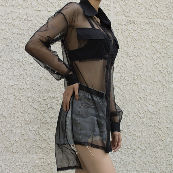 Irregular Mesh Transparent Shirt