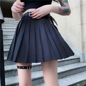 Dark High-waisted Slim Bust Pleated Skirt