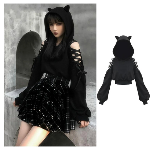 Cat Ears Lace Up Hoodies
