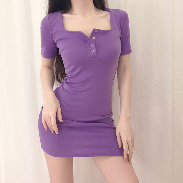 Square Neck Single Breasted Mini Dress