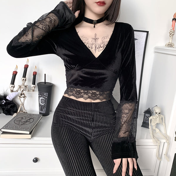 V-Neck Lace Flared Sleeve Crop Top