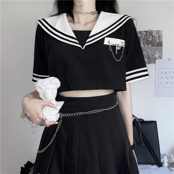 Sailor Uniform Top + College Style Skirt