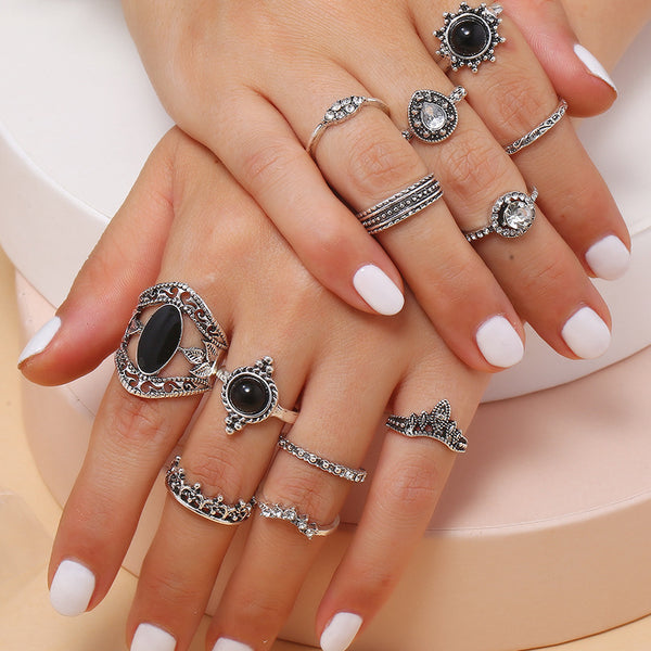 12pc Teardrop-Shaped Crown Ring Set