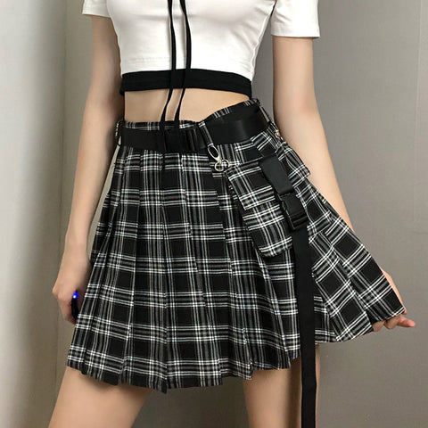 Check Pocket Pleated Skirt