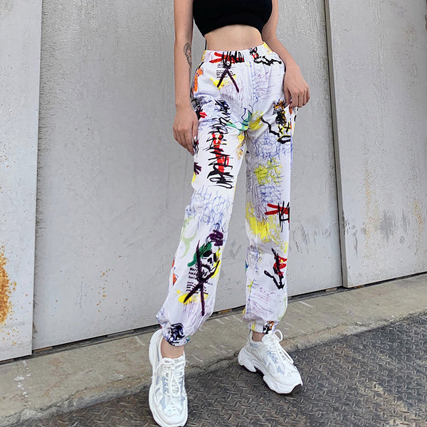 Graffiti Print Casual Sport Pants