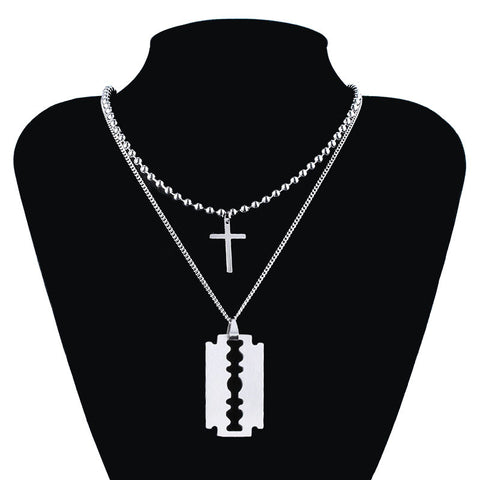 Cross Blade Double Metal Necklaces