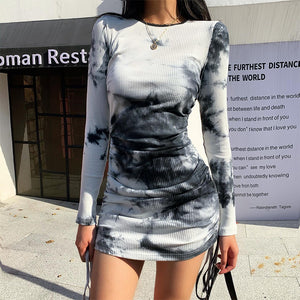 Tie-Dye Drawstring Pleated Mini Dress