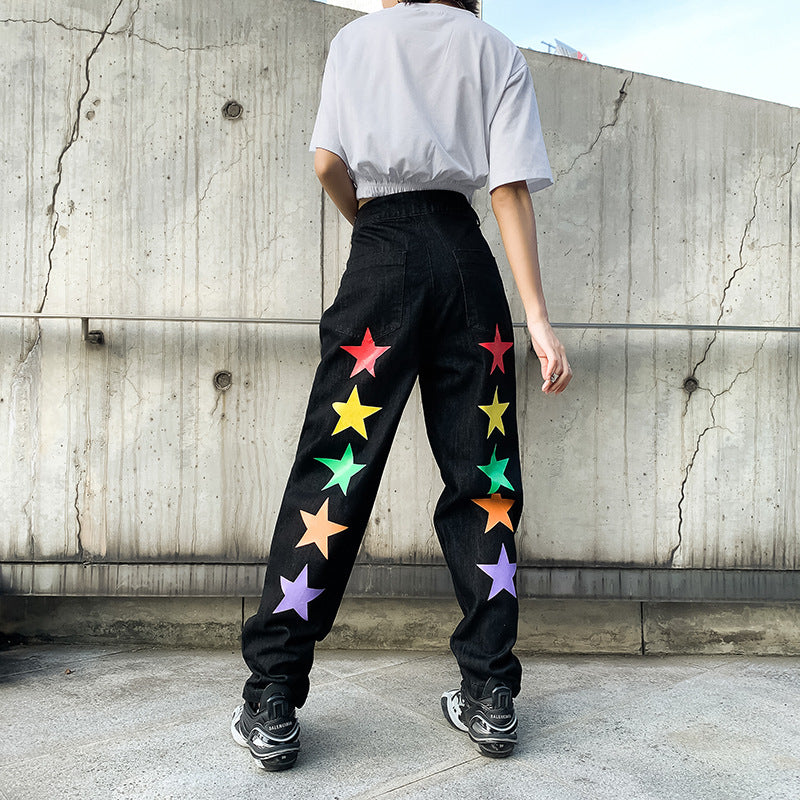 Color Five-Pointed Star Draping Jeans