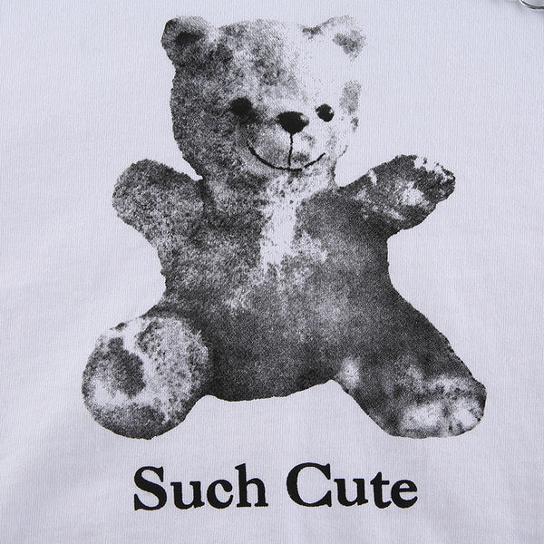 Long-sleeved T-shirt Female Bear Print Round Neck Chain Top