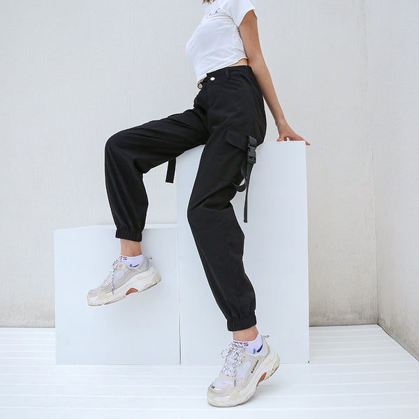 Cargo Pants Joggers Black High Waist Loose Trousers women
