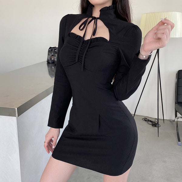 Lace-up Black Solid Color A-line Dress
