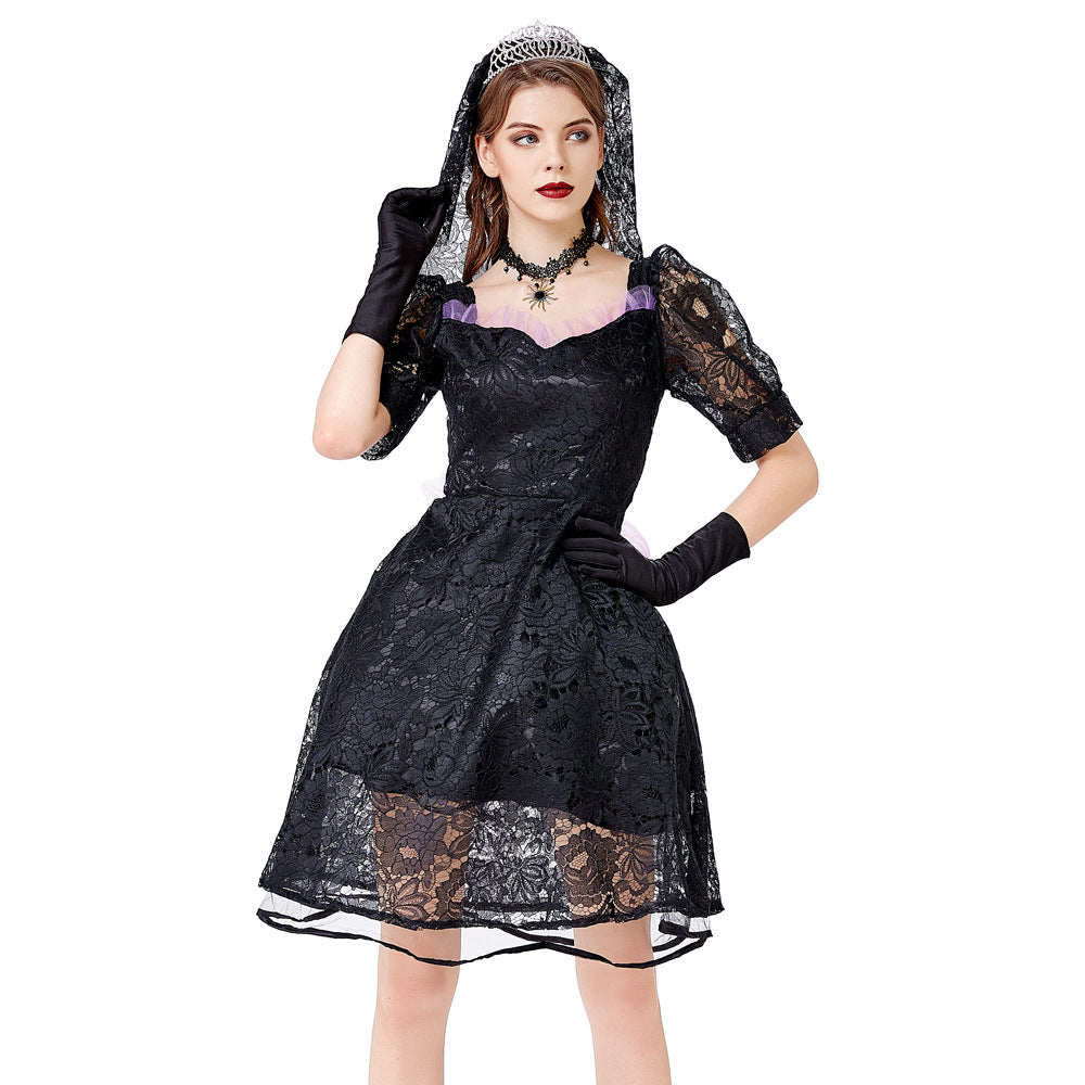 Gothic Lace Bow Knot Mini Dress
