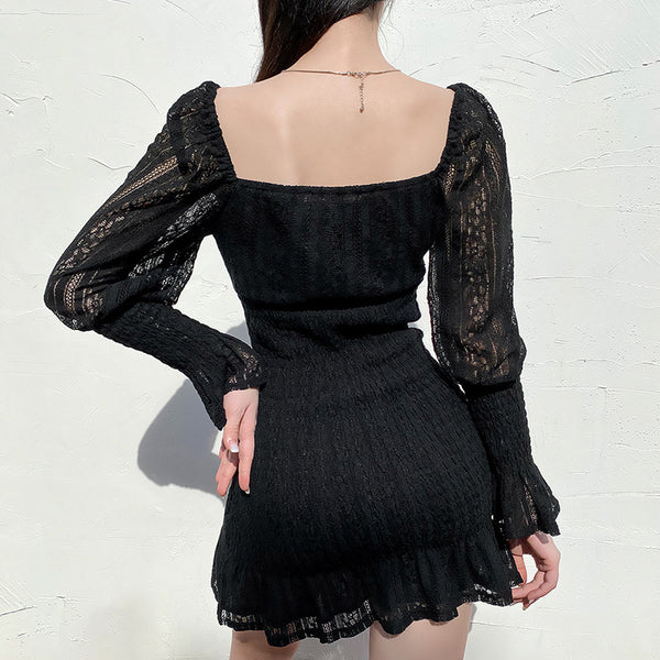 Square Neck Ruffled Mesh Dress