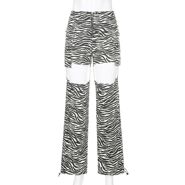 Contrast Drawstring Chain Pants