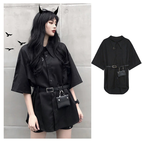 Retro Gothic Loose Short Sleeve Shirt