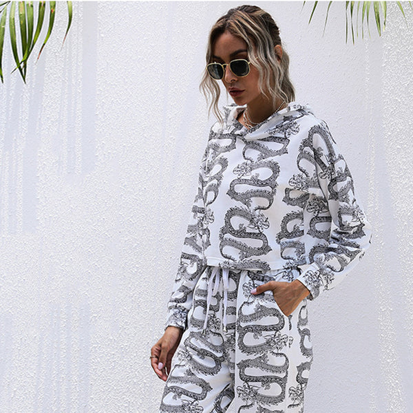 Fashion Printed Hooded Sweatshirt Set