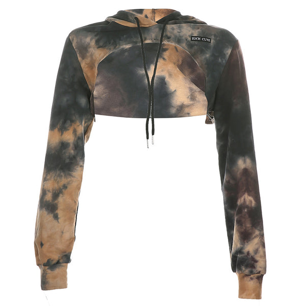 Tie Dye Hooded Short Long Sleeve Sweater