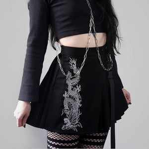 Retro Dragon Print Pleated Skirt