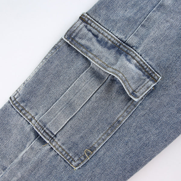 High Waist Pocket Drawstring Jeans