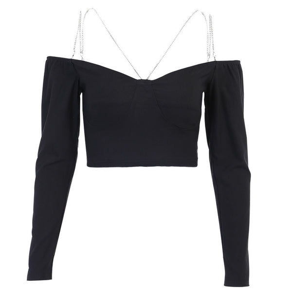 Punk One Shoulder Long Sleeve Top