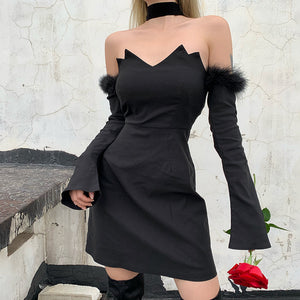 Off-Shoulder Plush Splice Mini Dress
