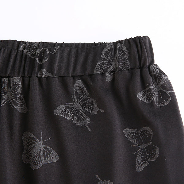 Butterfly Print Reflective Flared Pants