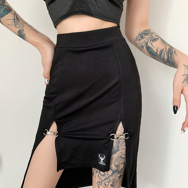 Irregular Metal Buckle Split Skirt