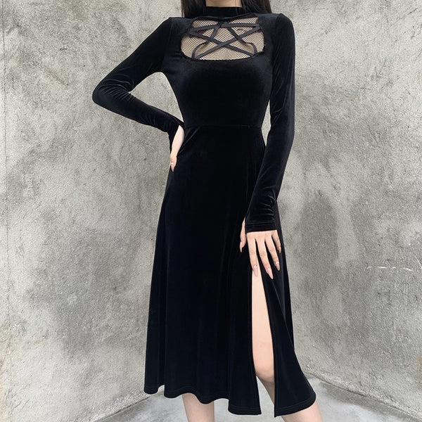 Five-Pointed Star Cutouts Midi Dress