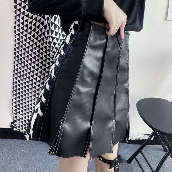 Cross Lace-Up PU Pleated Skirt