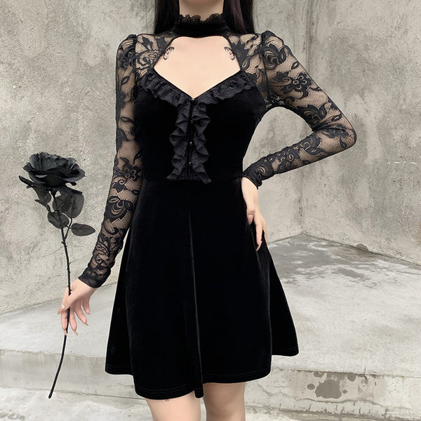 Lace Splice Cutout Mini Dress