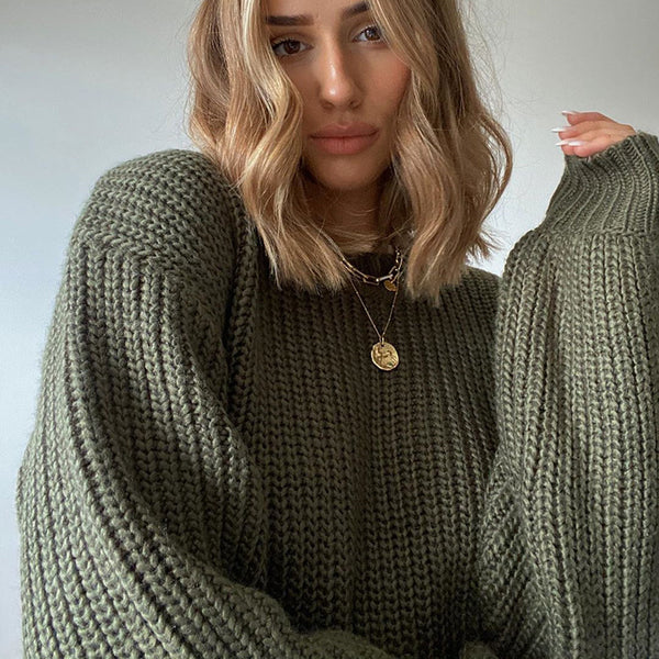 Solid Color Cutouts Loose Knit Sweater