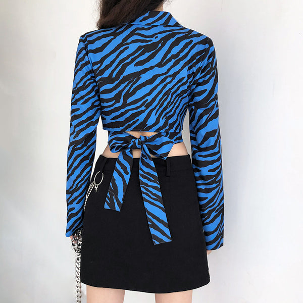 Zebra Print Lace-Up Suit Jacket
