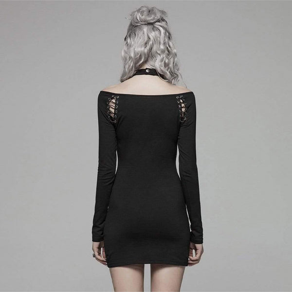 Lace-Up Cutout Slim Mini Dress