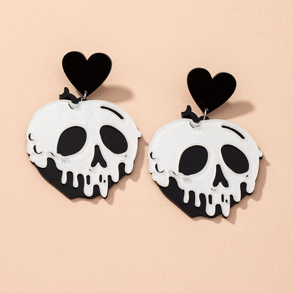 Skull Heart Pendant Earrings