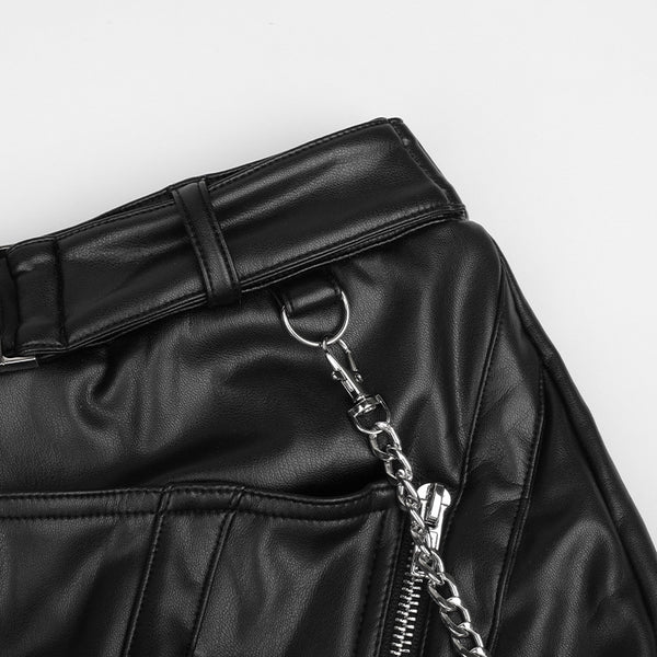 Irregular Zipper Chain Leather Skirt