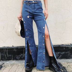 Personalized Wide-leg High-waist Stretch Jeans