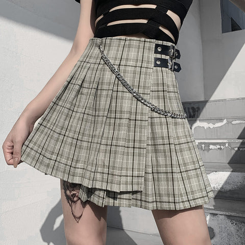 Plaid Chain Buckle Skirt