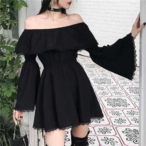 Off Shoulder Lace Flared Sleeve Mini Dress