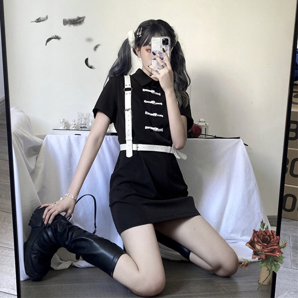 Gothic Button Shirt Mini Skirt