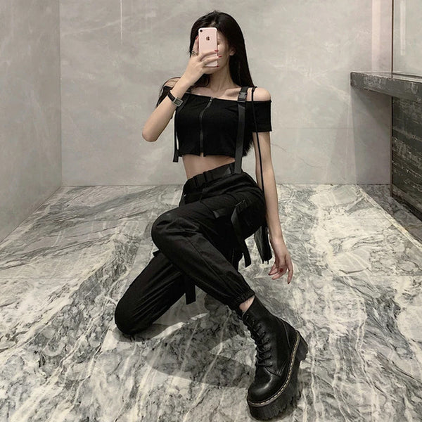 Schoolbag Buckle Solid Color Gothic Top